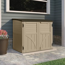 Horizontal Patio Shed Garden Backyard Double Doors Lid Plastic Padlock B... - $459.71