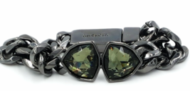 Givenchy Crystal Bracelet  Gun Metal Gray Chain Link and Icy Pale Green ... - $79.00