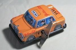 "VINTAGE Tin Toy Japan Sanko 3"" Wind Up Auto Turn Yellow Cab Taxi Mercede... - $14.80"