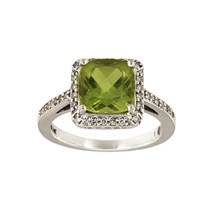 14k White Gold Ring with Peridot & Diamonds  - $950.00