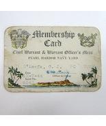 1944 WW II Pearl Harbor Navy Yard Chief Warrant Officer's Mess Membershi... - $14.99