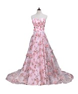 Women's Ball Gown Embroidery Evening Dresses Floral Print Long Prom Dress - $138.99