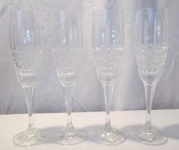 4 Mikasa Ashbourne Czech Cut Crystal Champagne Flutes Glasses - $50.00