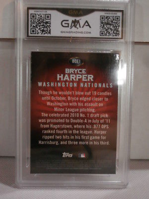 2011 Bowman Chrome Bryce Harper Red Refractor Exclusive RC GMA Grade Gem mt 10