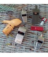 7 Vintage Whistles.  Bird, Air Force, Acme, Sportcraft, Frankfort, Car. ... - $25.00