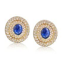 David Webb Blue Sapphire and Diamond Pave Earrings - $22,799.00