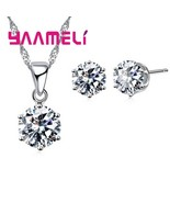 New Big Sale Wedding Jewelry Sets for Women 925 Sterling Silver Clear CZ... - $10.47