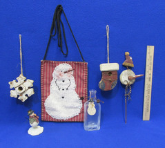 Primitive Winter Snowman Christmas Holiday Decor Bottle Bird Houses Pock... - $17.86