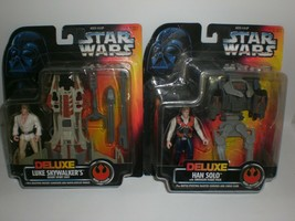 Star Wars Deluxe Luke Skywalker & Han Solo Rebel Alliance 1996 Action Figures - $25.23