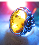 Haunted ring 3x SWEEPING THE AIR MAGICK 925 WITCH BALTIC AMBER Cassia4  - $60.77
