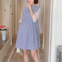 Maternity's Dress Turn Down Collar Stripe Short Sleeve Dress image 4
