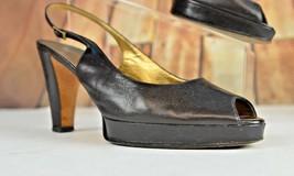 Vera Wang Women's Open Toe Strap Heels Size 40 Italy Leather 9.5 US Part... - $47.51