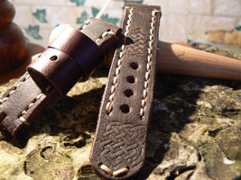 24 mm Strap Leather Handmade strapswatch for PAM  Watch strap Celtic - $42.69