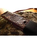 New 24 mm Leather Strapwatch Celtic Knots HandmadeWatch strap - $32.88