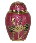 Mini Funeral Urns For Ashes - Rose Floral Keepsake Cremation Urn With Ve... - $45.00