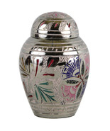 Small Funeral Urns Ashes - Lattice Floral Keepsake Cremation Urn With Ve... - $39.55