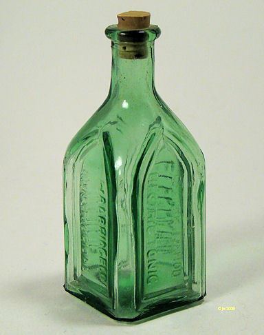 Vintage Green Cathedral Brand Tonic Bottle