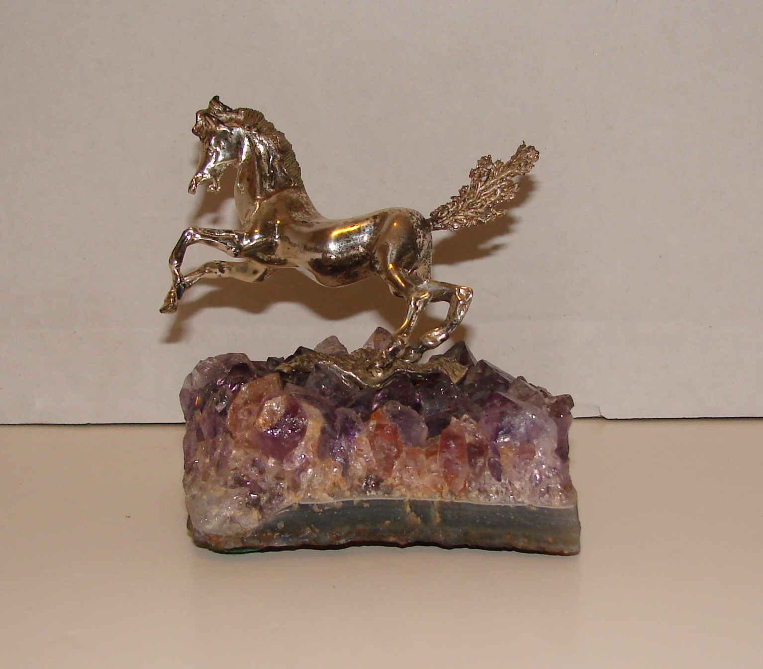 Silver Finished Horse Figure Embedded in an  Amethyst Geode Base - $22.00