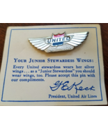 Vintage UNITED AIRLINES Junior Stewardess Silver Kiddie Metal Lapel Pin,  - $9.95