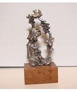 Communion Cup w/ Girl Pewter Figurine on Wood Base Italian Import - $5.99