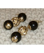 "black onyx and gold beads in a 3"" dangle earrings - $30.00"