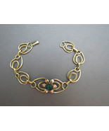 Art Deco LINC 12k Gold Filled Link Bracelet Flo... - $69.99