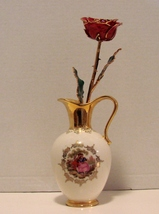 24K Gold Dipped Rose  in an Ophir Jerusalem Israeli  Gold Vase - $49.99