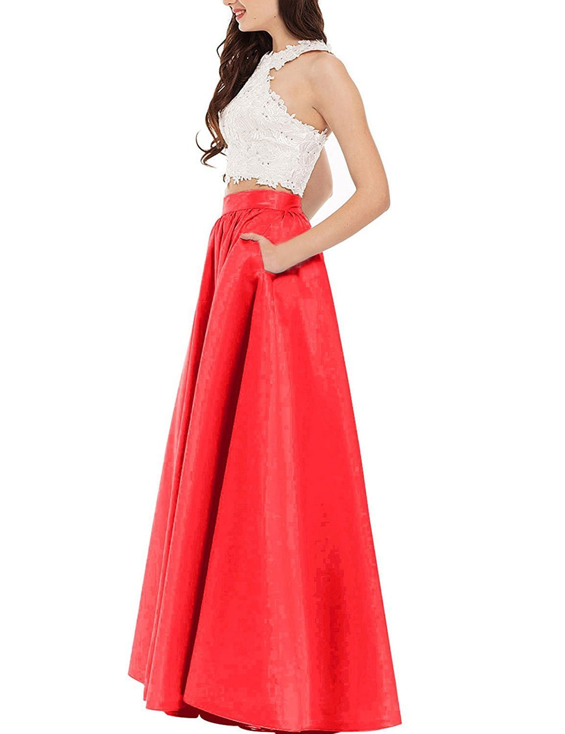 Women's 2018 Two Pieces Prom Dresses Satin Long Prom Dresses with Pockets Dress