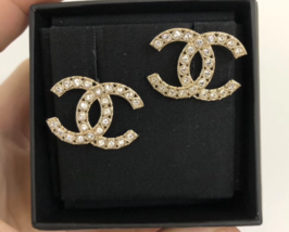 100% AUTH NEW CHANEL 2019 XL Large Gold CC Crystal Stud Earrings image 4