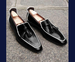 Handmade Men's Black Leather Slip Ons Tassel Loafer Shoes image 2