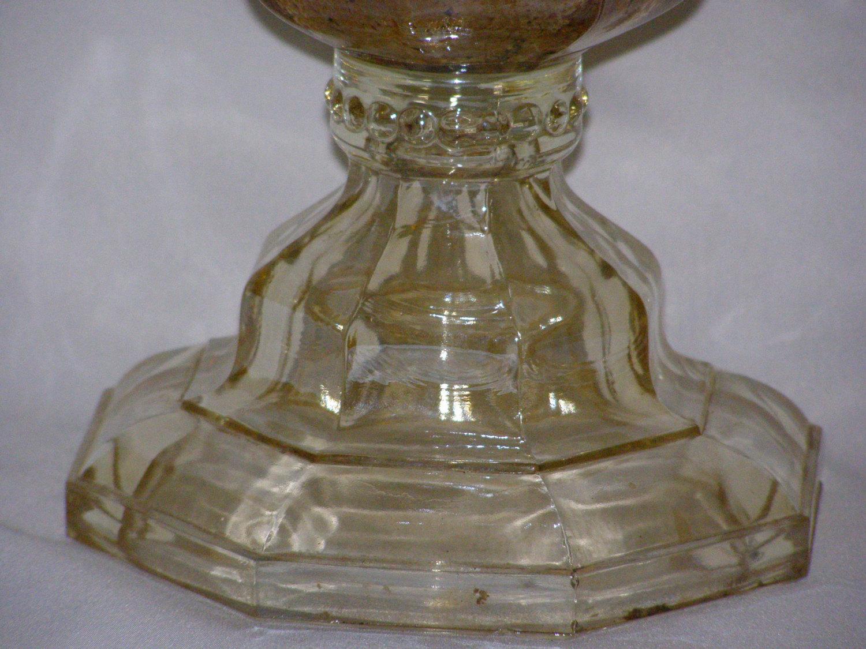 vintage clear glass oil lamp kerosene vintage octagon octavia base and. Black Bedroom Furniture Sets. Home Design Ideas