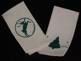 Vintage 1980s Christmas Cotton Flour Sack Tea Towels with Green Screen P... - $10.50