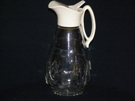 Vintage Glass Syrup Pitcher with White Plastic Lid Hmmmmmm Good! Pancake Syrup W - $8.85