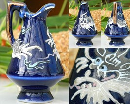 Vintage Moriage Dragon Dragonware Pitcher Miniature Cobalt Blue  - $15.95