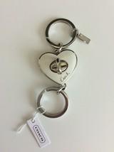 NWT Coach Valet Keychain White Heart Turn Lock Keyfob Keyring  - $39.59