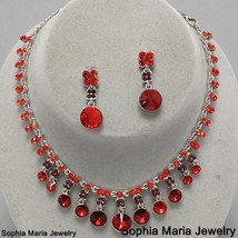Victorian Stunning Red Crystal necklace set bridesmaid wedding party eve... - $22.77