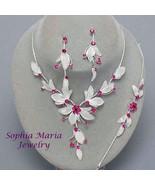 Fuchsia Flower Crystal 3 piece Bridesmaid Wedding Party Prom Formal Neck... - $19.79