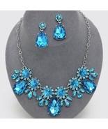 Stunning aqua crystal teardrop flower design necklace set bridal wedding... - $29.69