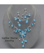 Blue Flower Crystal 2 piece Bridesmaid Wedding ... - $19.34