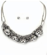 Mesh chain silver glass crystal evening party n... - $19.79