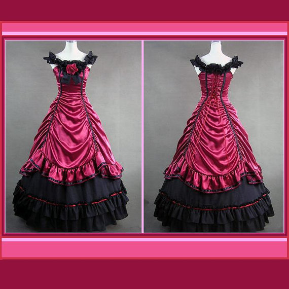 Renaissance Rose Satin Romantic Victorian 18th Century Party Dinner Prom Gown