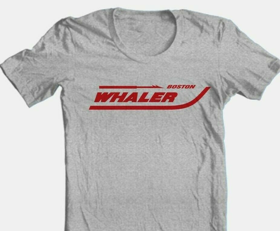 Boston Whaler T-shirt fishing boating beach ocean cotton blend graphic grey tee