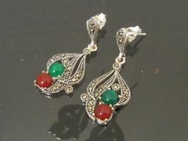 Vintage Modernist Sterling Silver Marcasite & Carnelian, Chalcedony Earrings - $38.00