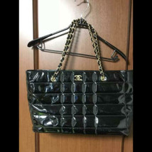 Auth Chanel Shoulder Bag Black Enamel Matelasse Chocolate Bar Logo Chain B5088 - $1,147.41
