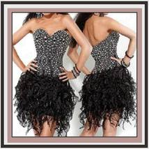 Black Lace Strapless Sweetheart Beaded Organza Celebrity Cocktail Mini Prom Gown - $139.95