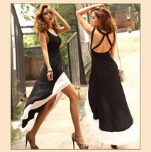 Vintage Long Black Backless Maxi Tank with Empire Waist & White Dove Tails  image 1
