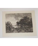 Sunset Steel Engraving by Hans Ludwig Fischer 1800's - $35.00