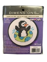 """Learn-A-Craft Playful Penguin Counted Cross Stitch Kit 3"""" Round 1 088677732691 - $4.85"""