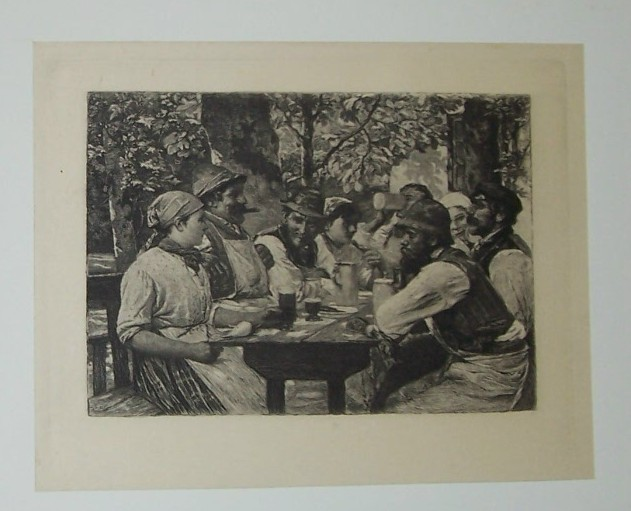 Masons at Lunch Steel Engraving by Wilhelm Kranskopf