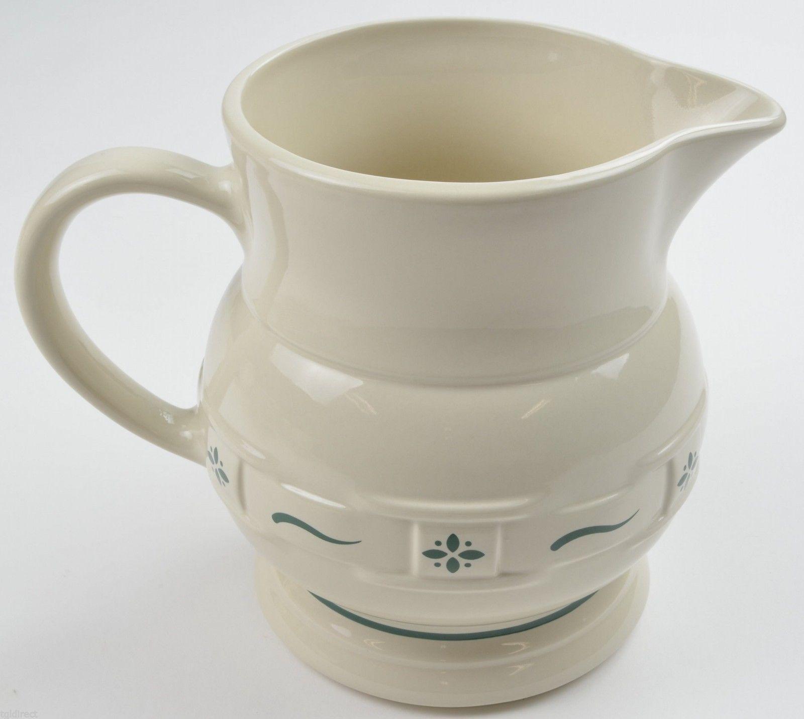 Longaberger Pottery USA Woven Traditions Heritage Green 64 Oz Pitcher China - $42.99